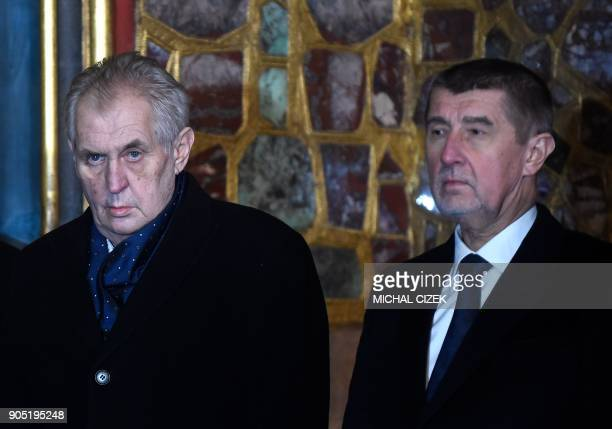 Czech Prime Minister Andrej Babis and Czech President Milos Zeman attend the ceremony presenting the Crown of Saint Wenceslas of Bohemia prior the...