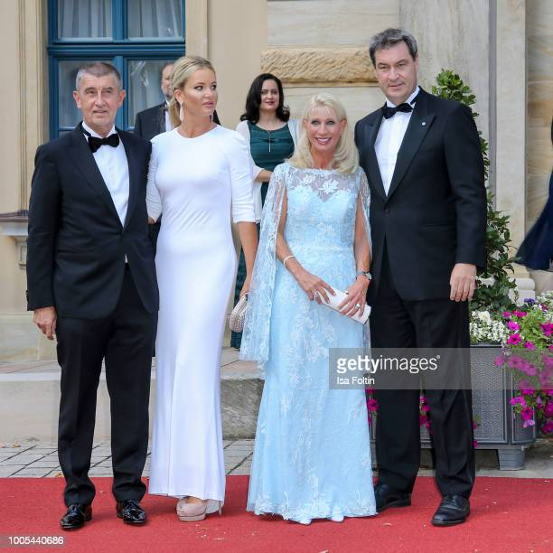 Czech Prime Minister Andrej Babis and his wife Monika Babisova with Bavarian State Premier Markus Soeder and his wife Karin Baumueller during the...