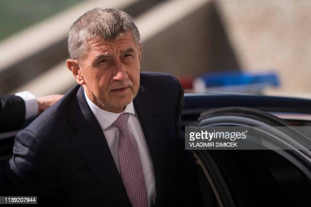 Czech Prime Minister Andrej Babis arrives for a meeting with Prime Ministers of the Visegrad group countries at Bratislava Castle on April 25 2019 in...