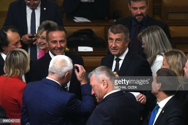 Czech Prime Minister Andrej Babis is seen with deputies of ANO Party prior to the speech of Czech President Milos Zeman in the Czech Parliament in...