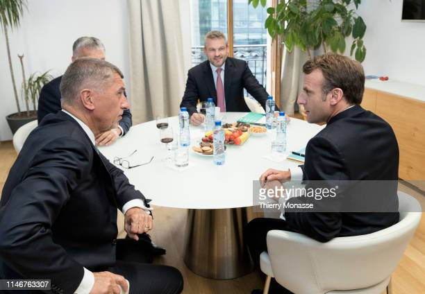 Czech Prime Minister Andrej Babis is talking with the Hungarian Prime Minister Viktor Mihaly Orban the Slovak Prime Minister Peter Pellegrini and the...