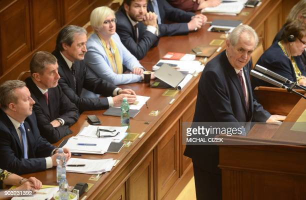 Czech Prime Minister Andrej Babis listens to Czech president Milos Zeman giving a speech on January 10 2018 in the Czech Parliament in Prague Czech...