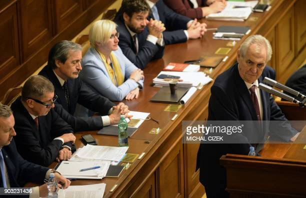 Czech Prime Minister Andrej Babis listens to Czech president Milos Zeman giving a speech on January 10 2018 in the Czech Parliament in Prague Czech...