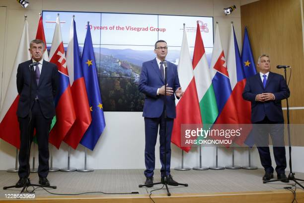 Czech Prime Minister Andrej Babis Polish Prime Minister Mateusz Morawiecki and Hungarian Prime Minister Viktor Orban hold a press conference at the...