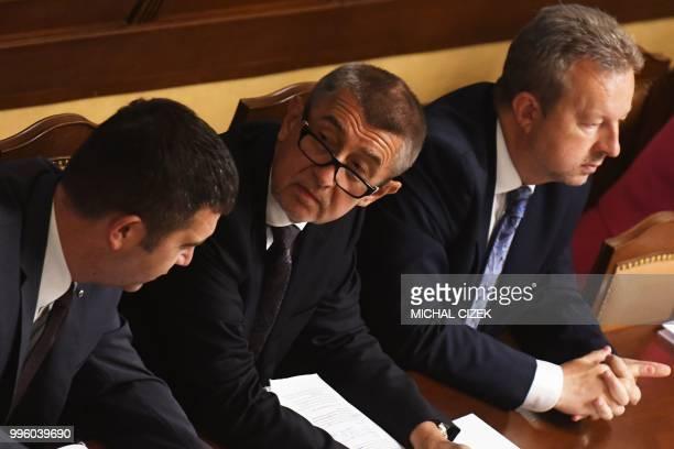 Czech Prime Minister Andrej Babis Social Democrat leader and Czech Interior Minister Jan Hamacek and Czech Minister for for Enviroment Richard Brabec...