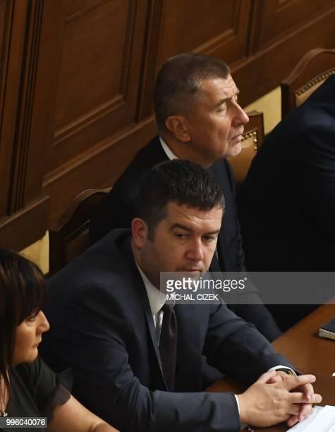 Czech Prime Minister Andrej Babis Social Democrat leader and Czech Interior Minister Jan Hamacek and Czech Minister of Finance Alena Schillerova...