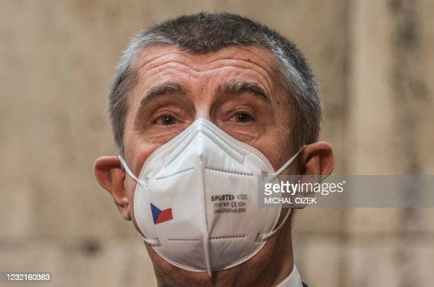 Czech Prime Minister Andrej Babis speaks to the media during the inauguration of the new Czech Health Minister to his new office on April 7, 2020 in...