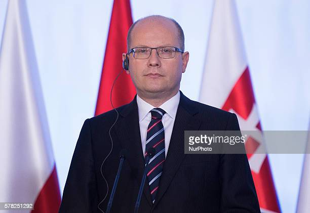Czech Prime Minister Bohuslav Sobotka on press conference after meeting heads of governments of the Visegrad Group 21 July Warsaw, Poland