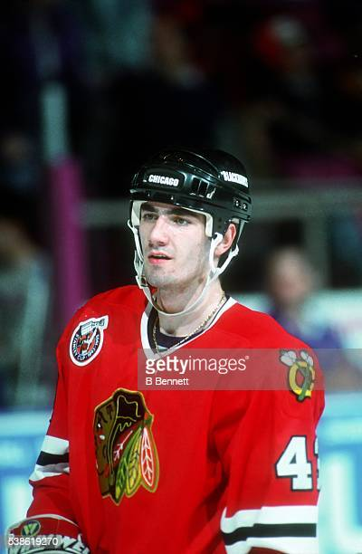 Czech professional hockey player Milan Tichy plays for the Chicago Blackhawks in the late1980s or early 1990s