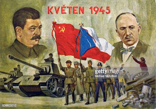 Czech propaganda card May 1945 refers to the uneasy relationship between President Benes and Joseph Stalin The card depicts the victory celebrations...