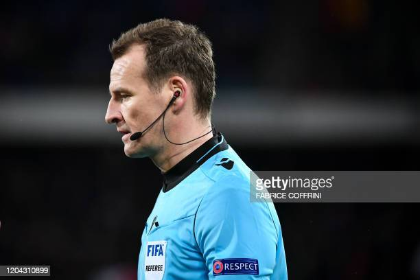 Czech Referee Pavel Kralovec looks on during the UEFA Europa League Last 32 Second Leg football match between FC Basel and APOEL FC at St JakobPark...