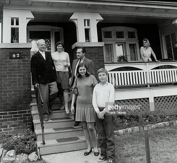 Czech Refugee Family In Front Of House On Leslie St Mr and Mrs Vladimir Feix and children like flat Alex Havrlant is with them