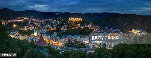 czech republic, bohemia, historic spa section of karlovy vary in evening - karlovy vary stock pictures, royalty-free photos & images