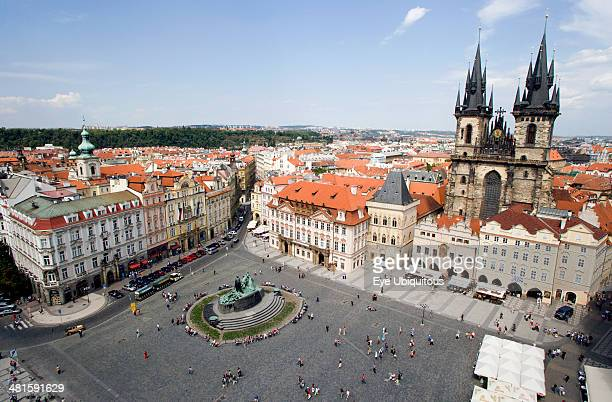 Czech Republic Bohemia Prague View across the city and the Old Town Square with the Church of Our Lady before Tyn on the right