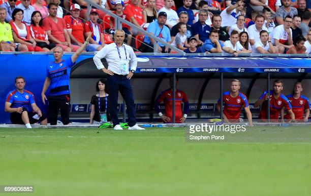 Czech Republic Coach Vitezslav Lavicka during the UEFA European Under21 Championship Group C match between Czech Republic and Italy at Tychy Stadium...