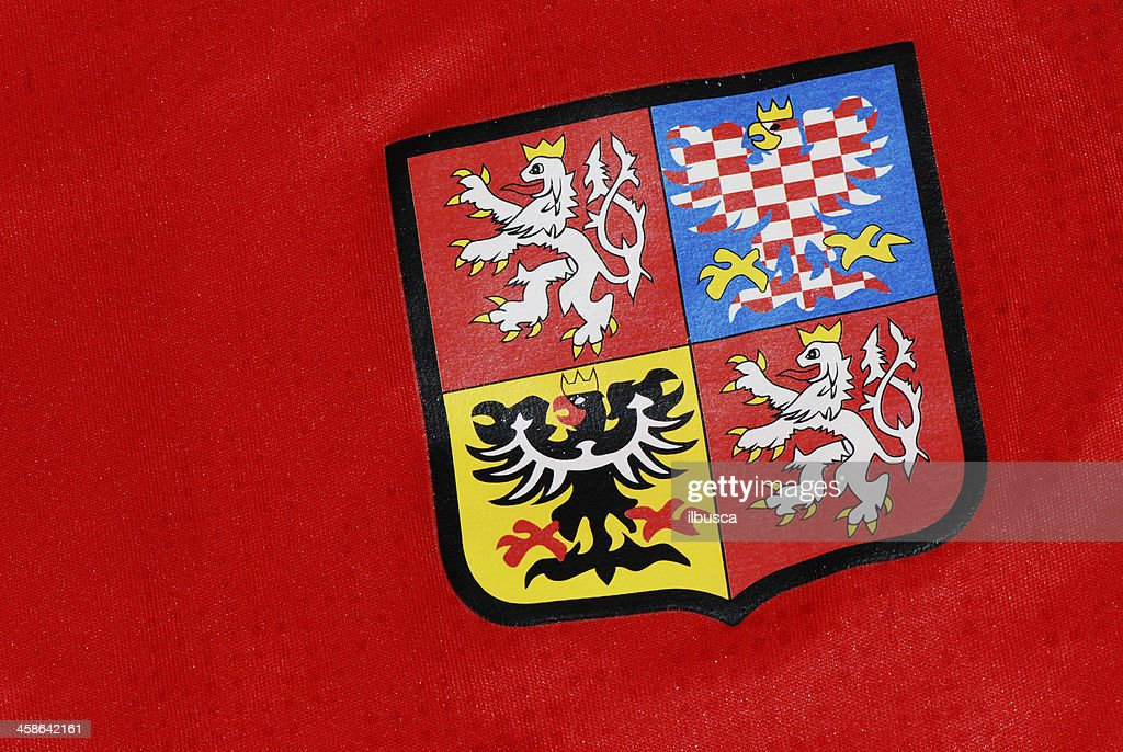 Czech Republic coat of arms on National Team soccer jersey   Stock Photo 1dd0ffe11