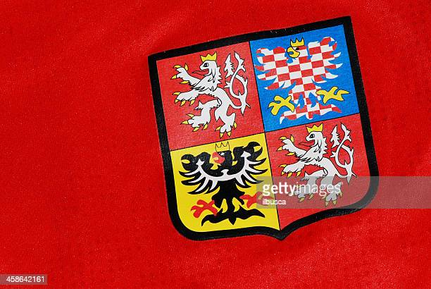 czech republic coat of arms on national team soccer jersey - coat of arms stock pictures, royalty-free photos & images