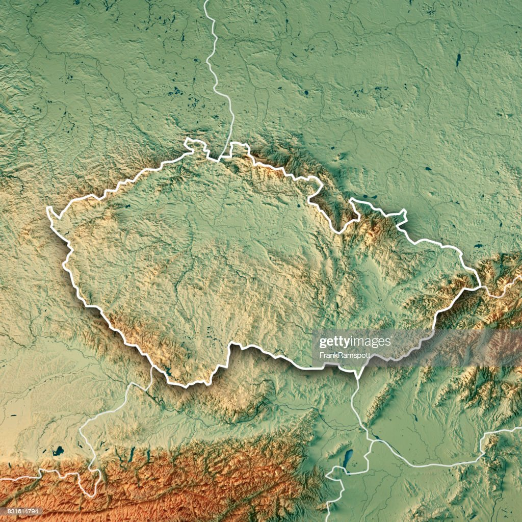 Czech Republic Country 3D Render Topographic Map Border : Stock Photo