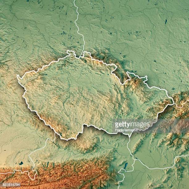 czech republic country 3d render topographic map border - frank ramspott stock pictures, royalty-free photos & images