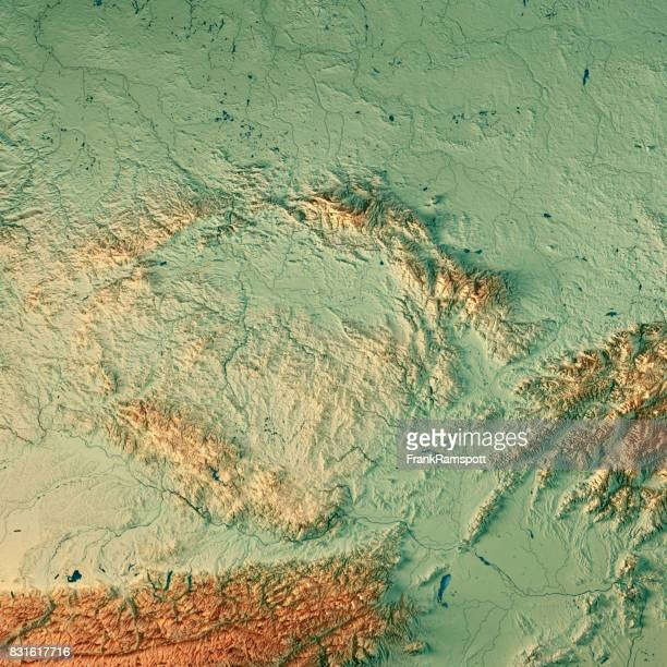 czech republic country 3d render topographic map - frank ramspott stock pictures, royalty-free photos & images