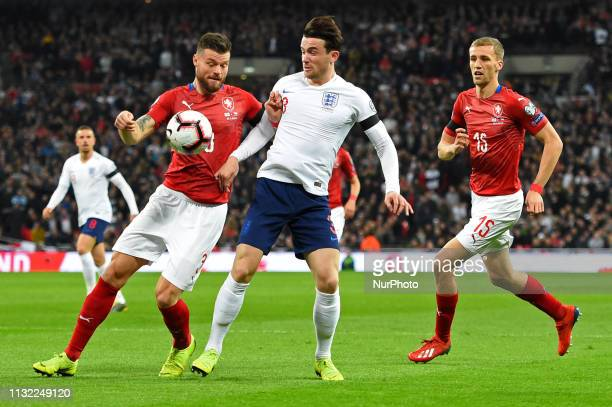 Czech Republic defender Ondrej Celustka battles with England defender Ben Chilwell during the UEFA European Championship Group A Qualifying match...