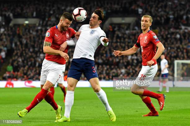 Czech Republic defender Ondrej Celustka heads away from England defender Ben Chilwell during the UEFA European Championship Group A Qualifying match...