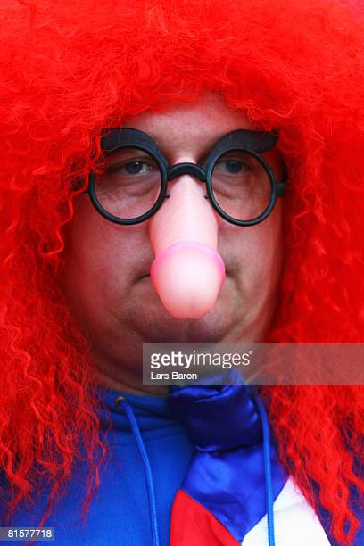 Czech Republic fan is pictured ahead of the UEFA EURO 2008 Group A match between Turkey and Czech Republic at Stade de Geneve on June 15, 2008 in...