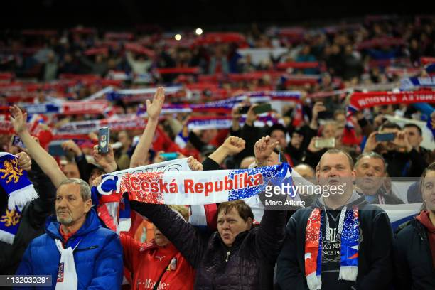Czech Republic fans holds scarves aloft as they sing the National Anthem during the 2020 UEFA European Championships group A qualifying match between...