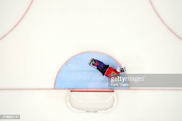 Czech Republic goalkeeper Michal Vapenka celebrates after teammate Michal Geier scored their second goal during the Ice Sledge Hockey classifications...