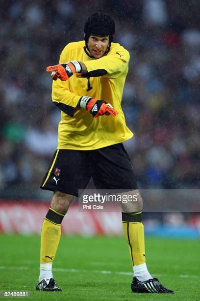 Czech Republic goalkeeper Petr Cech in action during the international friendly match between England and the Czech Republic at Wembley Stadium on...