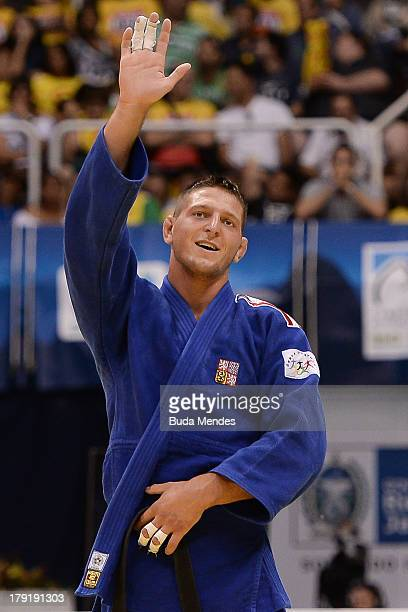 Czech Republic judoka Lukas Krpalek celebrates after defeating Japan's Takashi Ono during the 100kg category medal Bronze of the IJF World Judo...