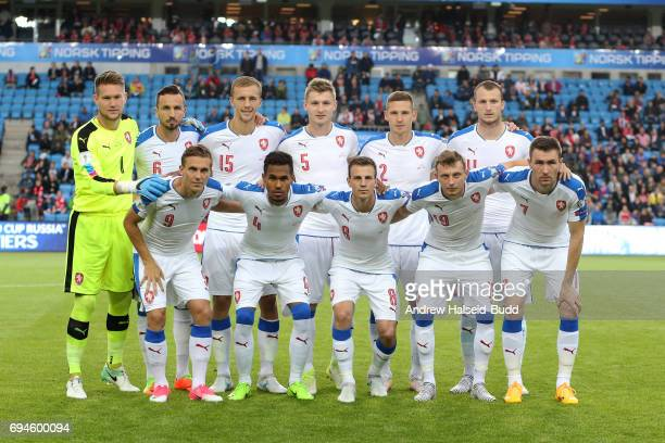 Czech Republic line up for a team photograph before the FIFA 2018 World Cup Qualifier between Norway and Czech Republic at Ullevaal Stadion on June...
