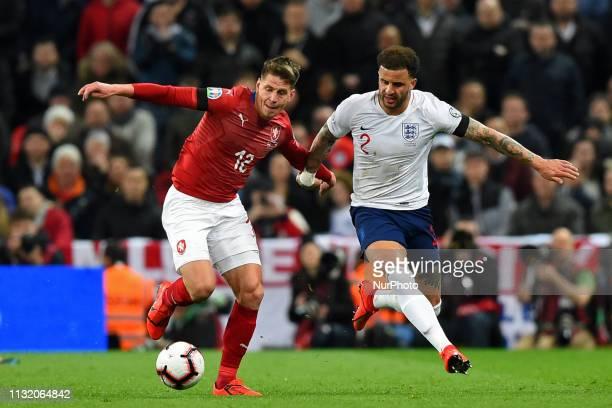 Czech Republic midfielder Lukas Masopust battles with England defender Kyle Walker during the UEFA European Championship Group A Qualifying match...