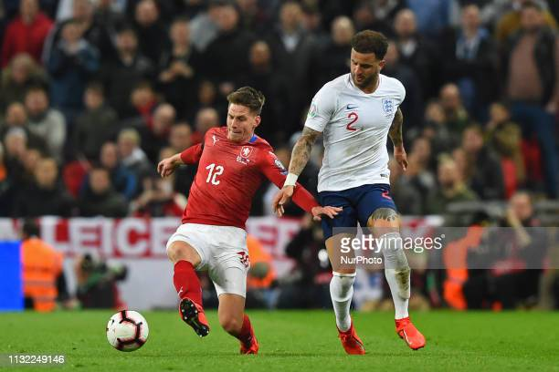 Czech Republic midfielder Lukas Masopust blocks the ball from England defender Kyle Walker during the UEFA European Championship Group A Qualifying...