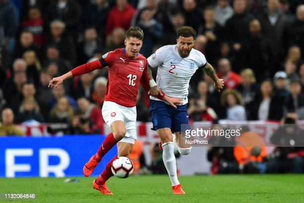 Czech Republic midfielder Lukas Masopust controls the ball from England defender Kyle Walker during the UEFA European Championship Group A Qualifying...