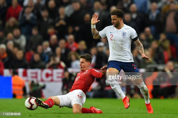 Czech Republic midfielder Lukas Masopust gets the ball from England defender Kyle Walker during the UEFA European Championship Group A Qualifying...