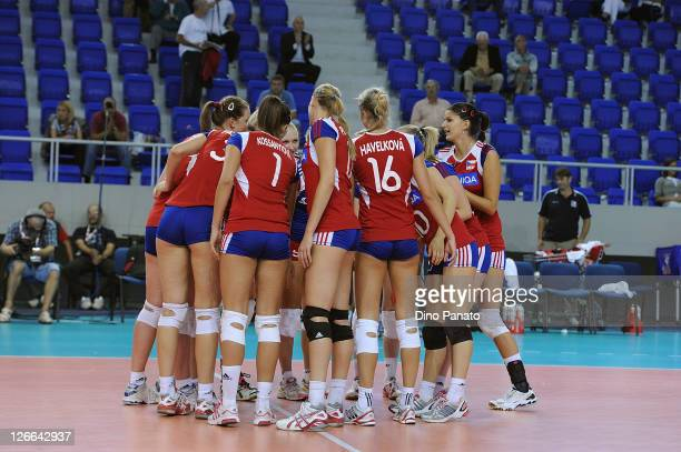Czech Republic players celebrate victory after the Women's Volleyball European Championship match between Israel and Czech Republic on September 26...