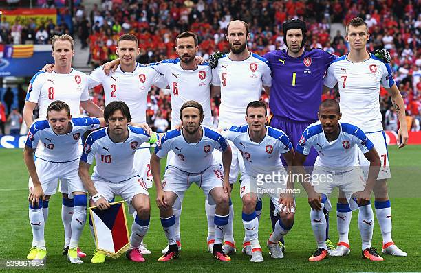 Czech Republic players line up for the team photos prior to the UEFA EURO 2016 Group D match between Spain and Czech Republic at Stadium Municipal on...
