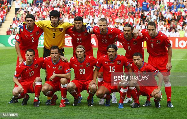 Czech Republic players line up prior to the UEFA EURO 2008 Group A match between Czech Republic and Portugal at Stade de Geneve on June 11 2008 in...