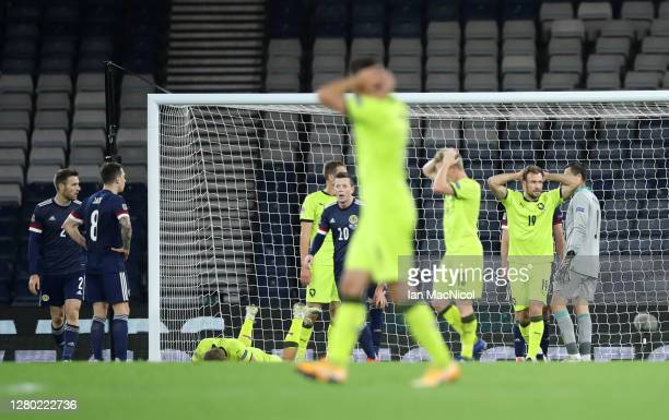 Czech Republic players react to a missed chance during the UEFA Nations League group stage match between Scotland and Czech Republic at Hampden Park...