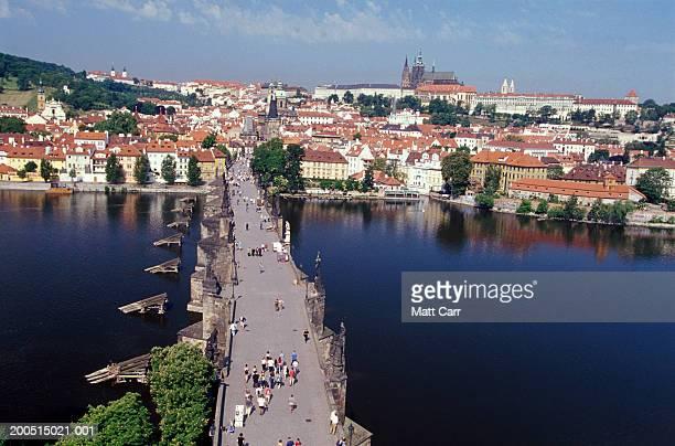 Czech Republic, Prague, Charles Bridge and Prague Castle, elevated view