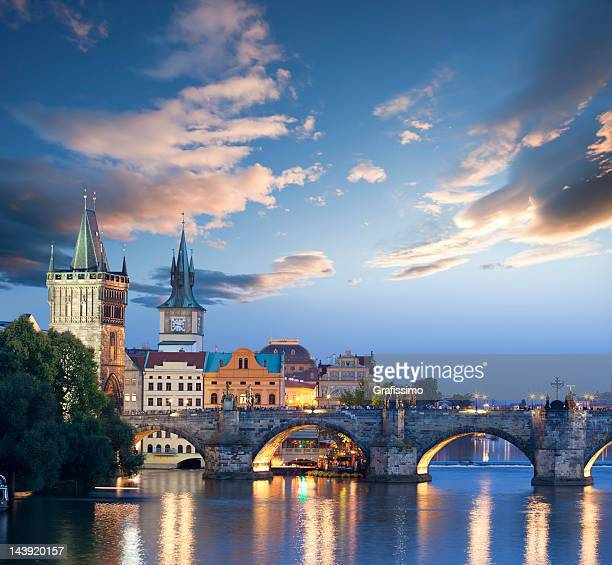czech republic prague charles bridge at dawn - charles bridge stock photos and pictures