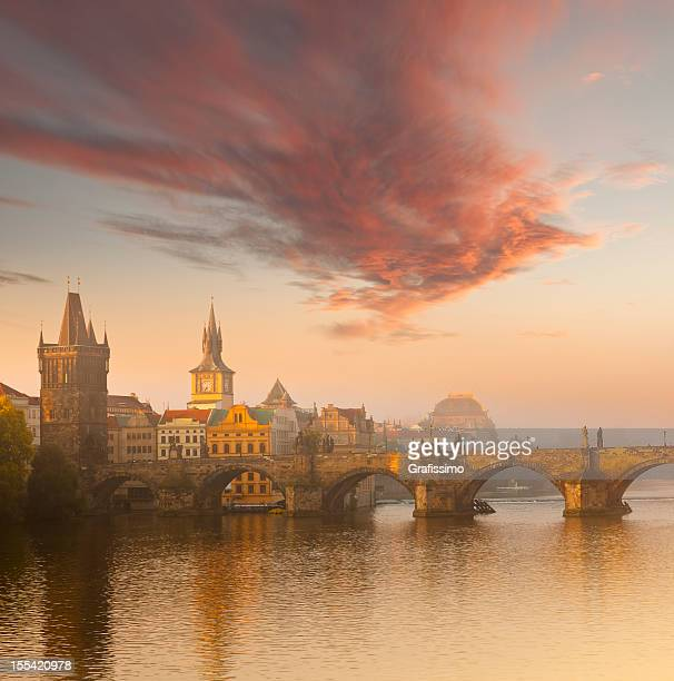 czech republic prague, charles bridge at dawn - charles bridge stock photos and pictures