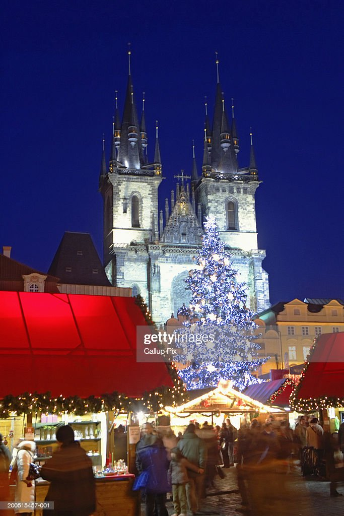 Czech Republic Prague Christmas At Old Town Square With Tyn Church ...