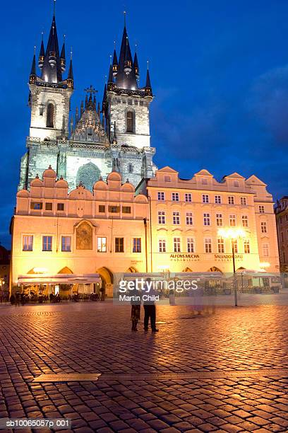 Czech Republic, Prague, Old Town Square and Church of Our Lady at dusk