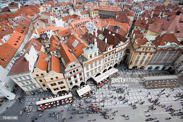 czech republic, prague, old town square, view from old town hall tower - czech republic stock pictures, royalty-free photos & images