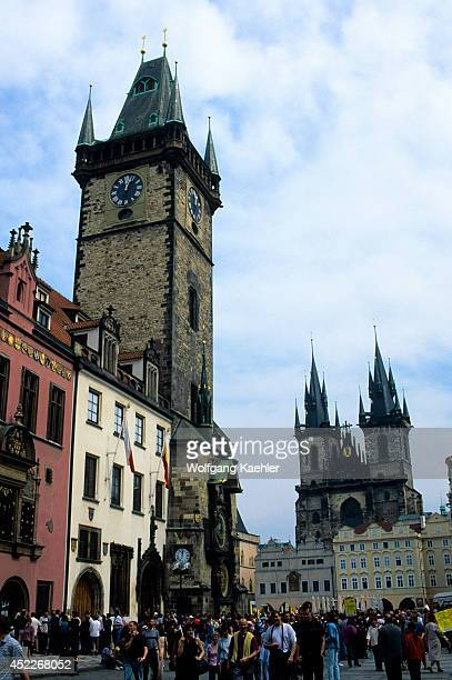 Czech Republic Prague Old Town Squaretown Hall And Gothic Church Of Our Lady Before Tyn