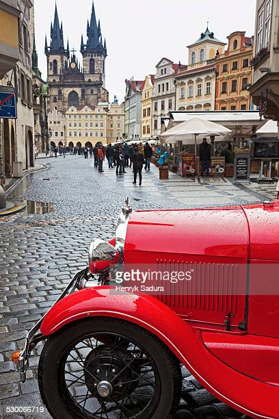 Czech Republic, Prague, Old town with retro car in foreground