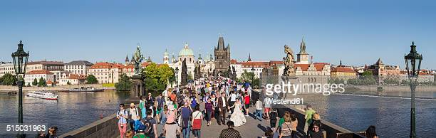 Czech Republic, Prague, People on Charles Bridge