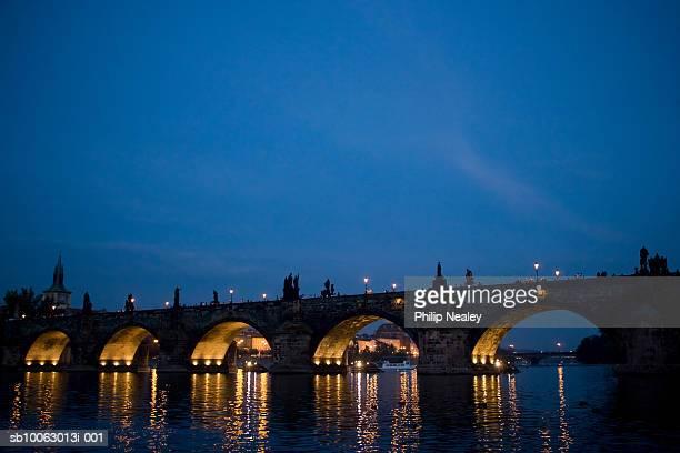 Czech Republic, Prague, the Charles Bridge at dusk